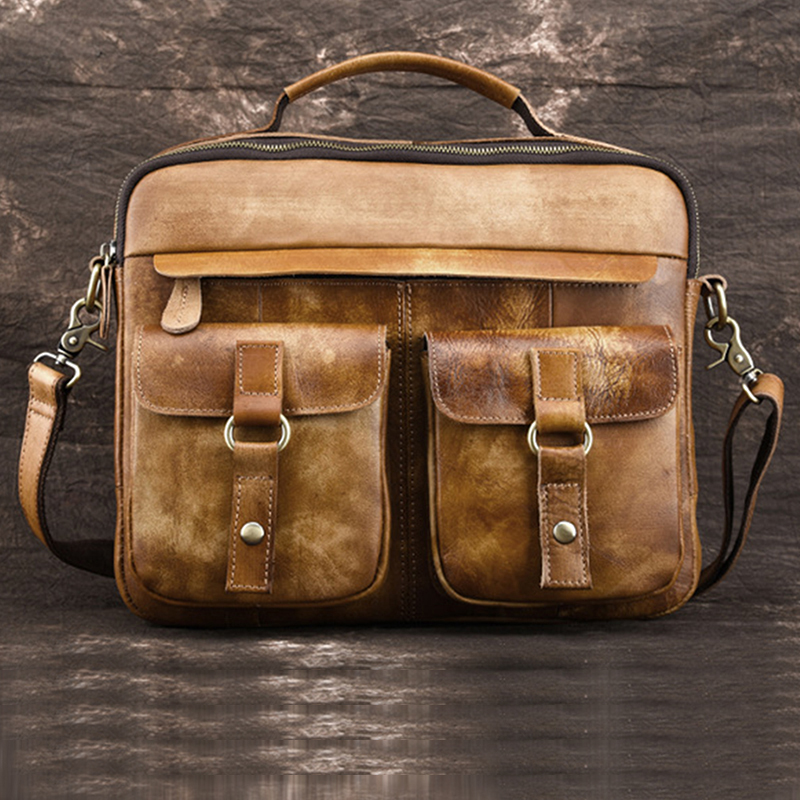 Genuine Tanned Leather Men Top-Handle Bag Briefcase Crossbody Shoulder Computer Pack High Quality Business Messenger Tote Bags genuine leather men messenger bag really cowhide crossbody bags for men shoulder bag men top handle work bag briefcase