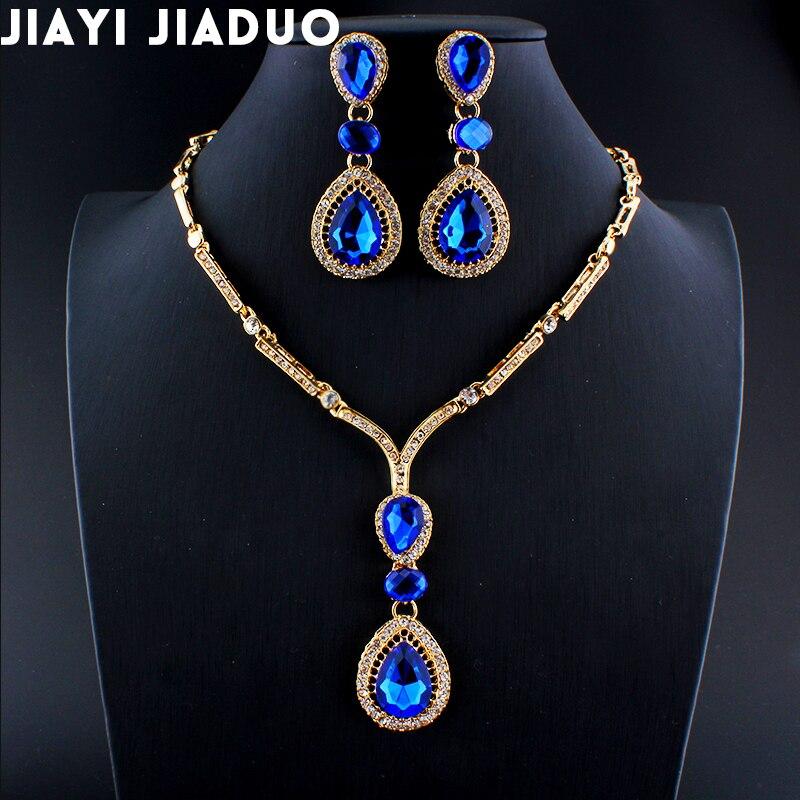 Brautschmuck Sets Jiayijiaduo Dubai Schmuck-set Halskette Ohrringe Set Für Frauen Hochzeit Kleid Charme Blau Acryl Wasser Tropfen Für Mädchen Geschenk Schmuck & Zubehör