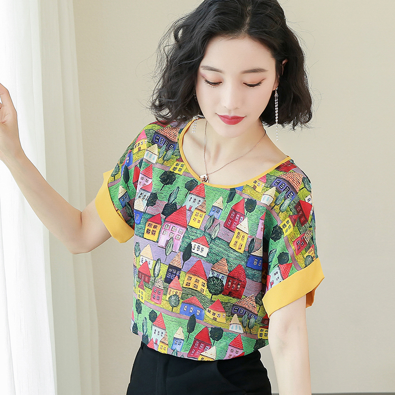 Korean Fashion Silk Women Blouses Satin Graffiti Women ...