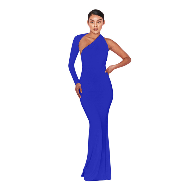 2019 Ladies Dress Back Waist Fold Dress Long-Sleeved Dress 3 Colors Female Birthday party Party Dresses