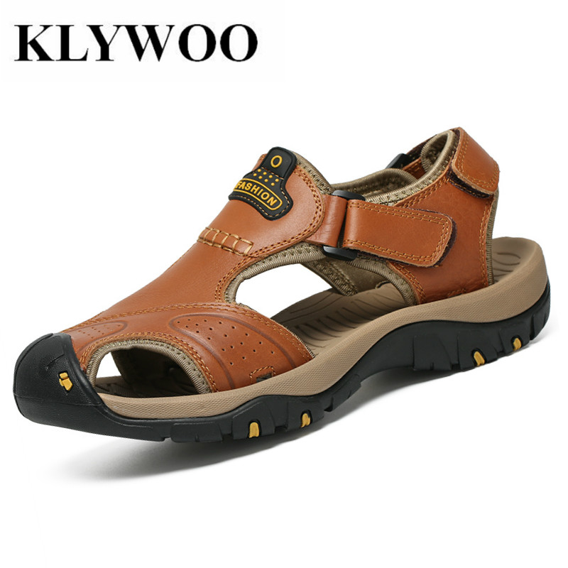 KLYWOO Brand Genuine Leather Summer Soft Male Sandals Shoes For Men Breathable Light Beach Casual Shoes Men Beach Sandal Slides