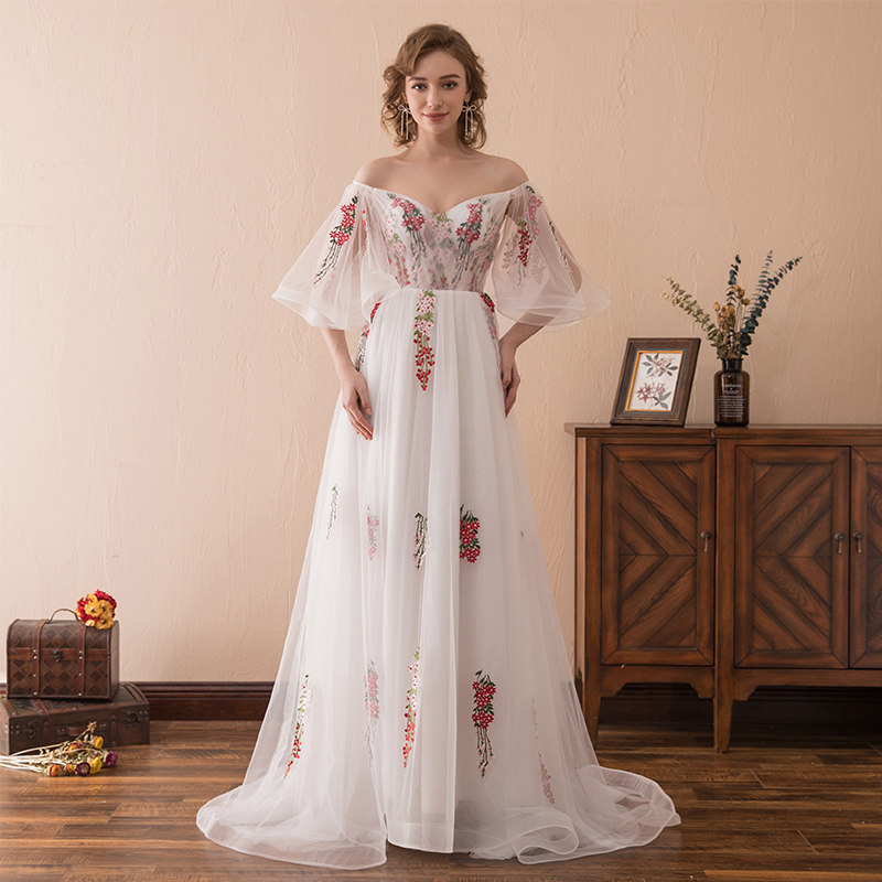 Hot Sale Off The Shoulder   Prom     Dresses   With The Patterns Appliques Pleats Tulle Special Occasions Vestidos De Gala Largos