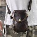 Mini Saco Da Cintura Cinto de gancho com Caso de Telefone Celular Do Vintage Casuais Sacos Do Mensageiro de Couro de Vaca Homem Carteira de couro Sacos de Ombro
