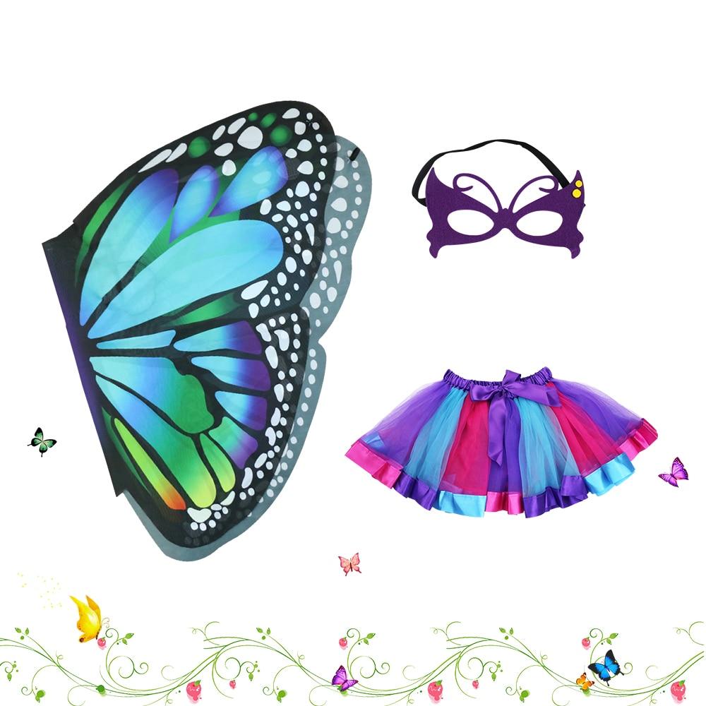 D.Q.Z Fairy Girls Blågrön Butterfly Wing Kids Kostymer Tutu Kjol - Maskeradkläder och utklädnad