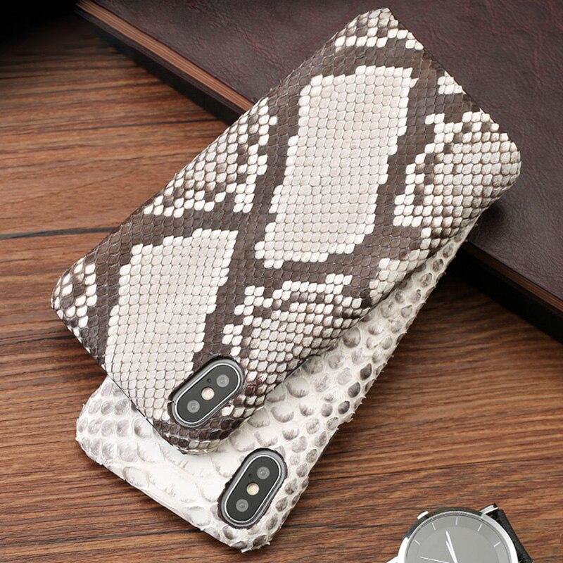 Véritable cas de Téléphone en cuir Pour iPhone X 7 p 8 p cas Naturel Python Peau Ultra Mince de couverture arrière Pour 6 6 s 7 8 Plus 5 5S SE cas