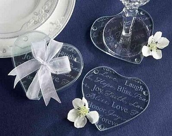 200pcs100pairs Wholesale Indian Wedding Return Gift For Guests Heart Love Cup Pad Mat Glass