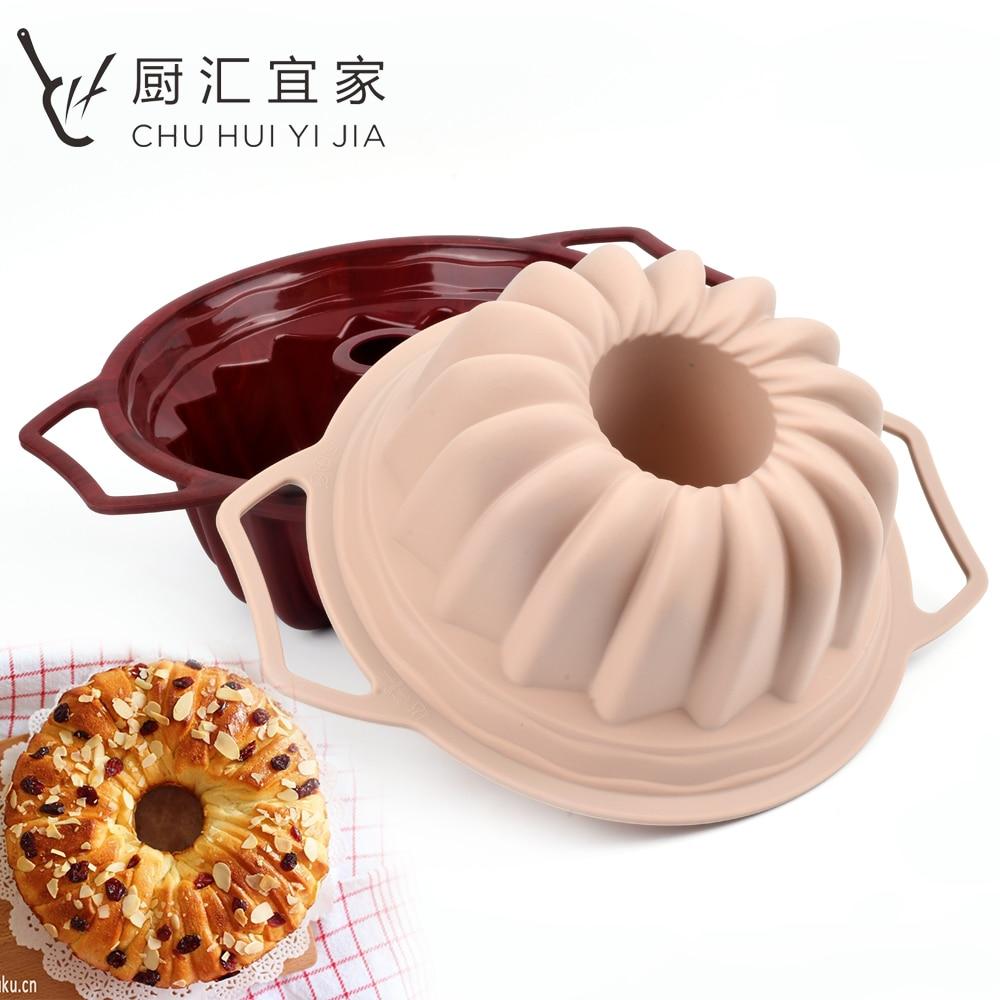 Silicone Cake Baking Pans, 3D Silicone Bundt Cake Mold Brownie Gateau Mousse Fondant DIY Cake Moulds Metal Handle & Non Stick
