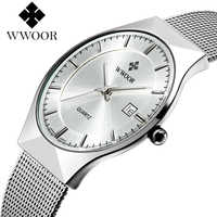 Top Brand Luxury WWOOR Mens Watches Stainless Steel Business Quartz Wrist Watch Ultra Thin Fashion Dress Watch Relogio Masculino