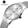 Wwoor de primeras marcas de lujo de los hombres relojes banda de acero inoxidable dial display analógico reloj de pulsera de cuarzo ultra delgado vestido de la manera reloj
