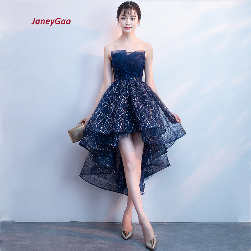 JaneyGao <font><b>Prom</b></font> <font><b>Dresses</b></font> For Women Short Front Back Long High Quality Strapless Elegant Formal Gown 2019 New Cheap Price On Sale image