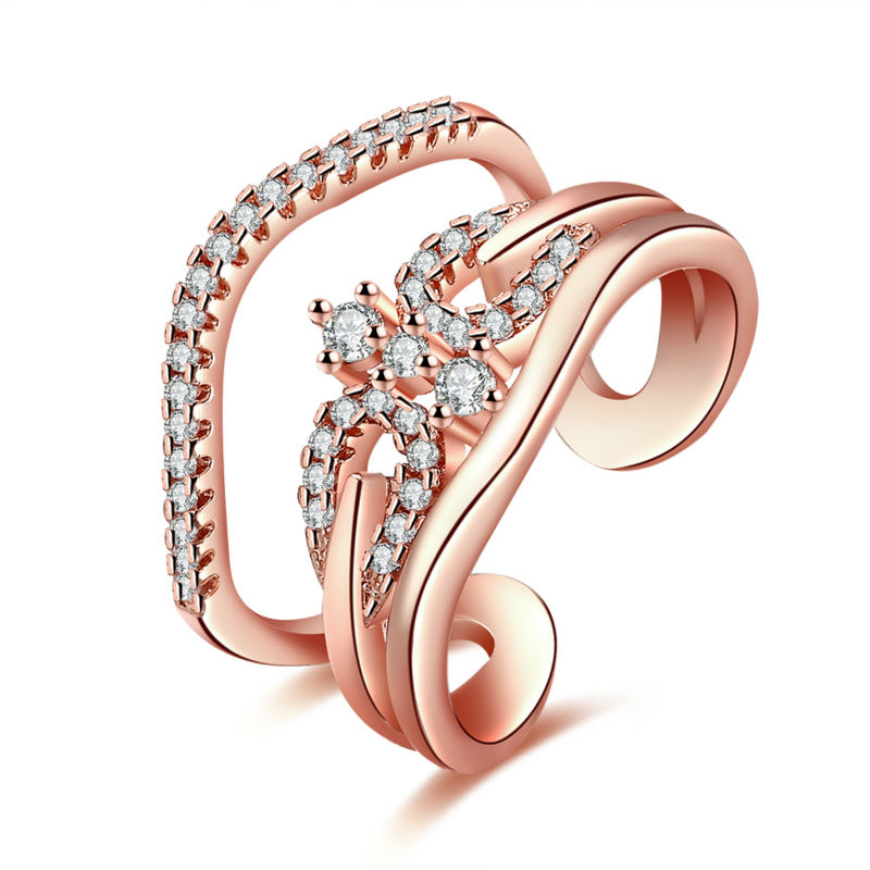 Wholesale Rose Gold & White Gold Thread Opening Bling CZ Friend Carter Ring For Women Girls Accessory Femme Bauge Fancy Jewelry