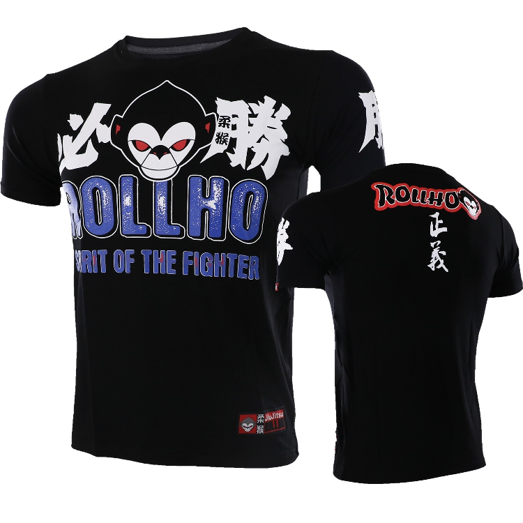 ROLLHO Monkey ROLLHO Mixed Martial Arts Technical Boxing Hall MMA Victory Sports Fight Short Sleeve T-shirt Wulin Wind Free Comb