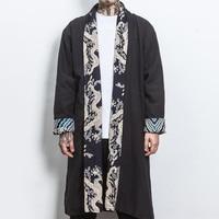 2018 herbst Und Winter Lange Graben Mantel Chinesischen Stil Kontrast Blume Lange Jacke Für Männer Manteau Lange Homme