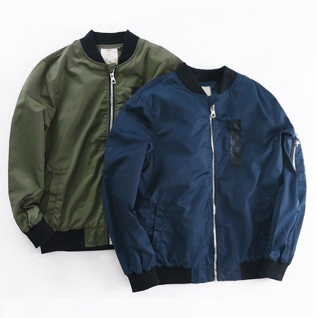 2019 весенне-осенние куртки для мальчиков, пальто, куртка-бомбер, армейский зеленый, для мальчиков, ветровка зимняя куртка, Детская однотонная куртка