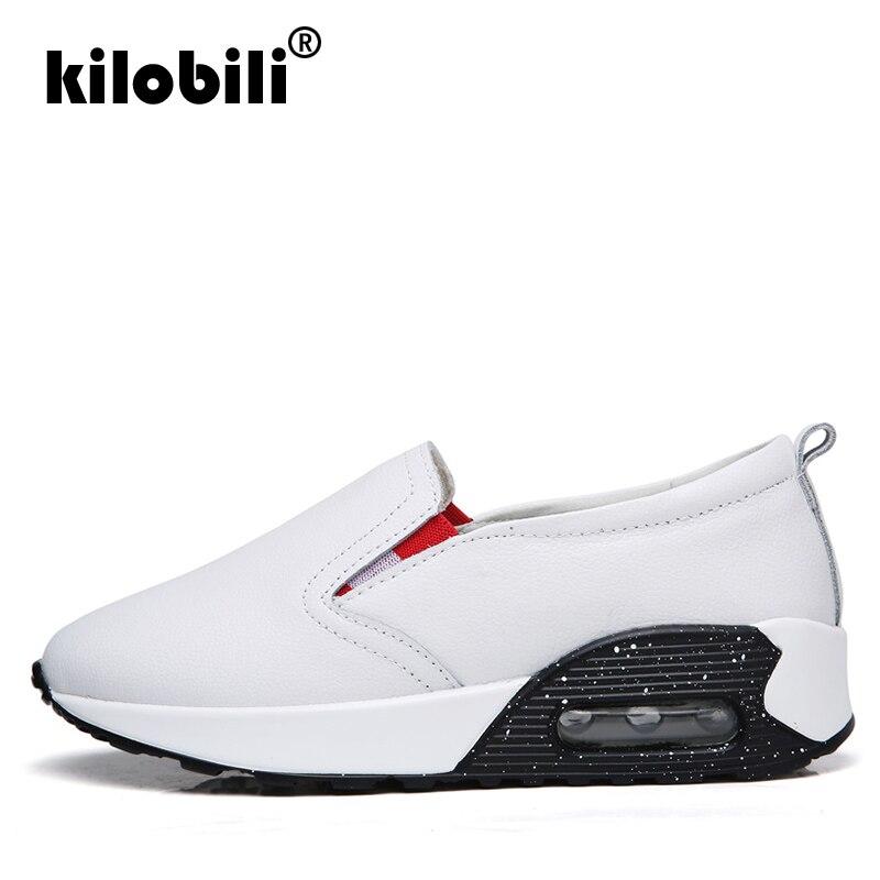 Zapatos Planas 2018 white Plataforma De Cuero Black Genuino Verano Mujer Zapatillas Deporte Primavera Casual Para Kilobilis wpE8A