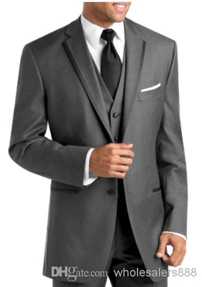 2016 New 2 Buttons Notch Lapel Groom Wear Tuxedos Wool Blend Best Man Suits (Jacket+Pants+Tie+Vest) G579
