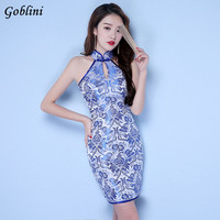 New Summer Cheongsam Chinese Traditional Dress Vintage Sleeveless Female High Neck Qipao Unique Party Evening Dresses