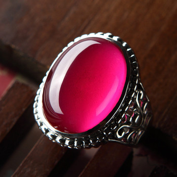 925 Sterling Silver Genuine red corundum ring retro pattern exaggerated atmospheric eclipse ring Ms.