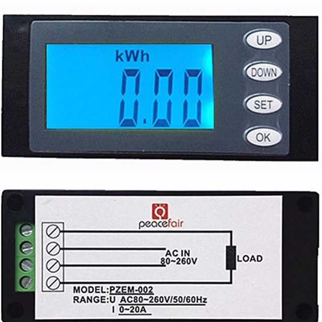 20A AC Digital LED Panel Power Meter Monitor KWh Time Watt Voltmeter Ammeter New 2017