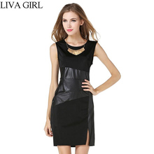 LIVA GIRL Sexy Celebrate Ladies Black Work Bodycon Sleeveless Dress Women Summer Dress