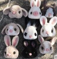 Cute Rabbit Pompom Felt Kit With Keychain Animail Woolen Thread Set Wool Needlepoint Felt Needle Felting