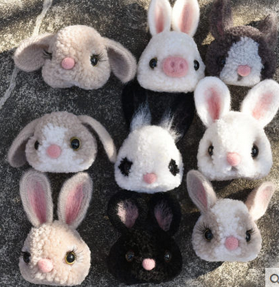 Cute rabbit Pompom felt kit with keychain animail woolen thread set wool needlepoint felt needle felting craft DIY handmade
