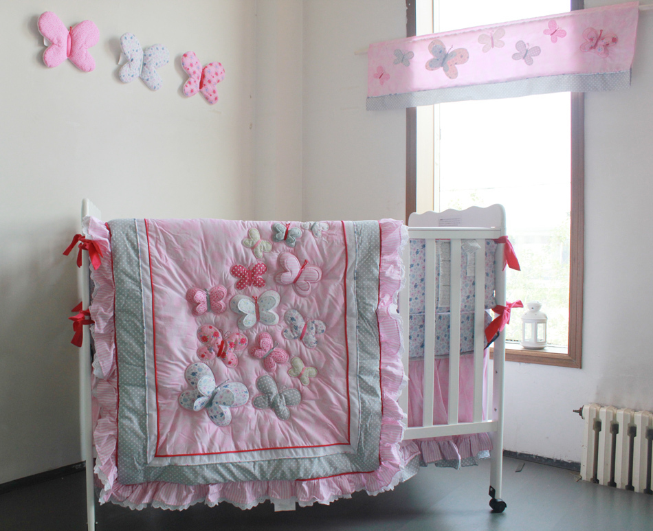 Giol Me Num Pink Butterfly Pattern Girl Baby Bedding Cotton Crib Bedding Set 4pcs Quilt/
