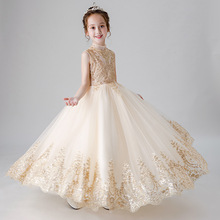 Gorgeous Puffy Sequins Gold Little Girl Dress Kids Formal Princess Flower Girl Dress Floor-length Pageant Party Wedding Gowns new gold sequins flower girls dresses for weddings backless pageant dress floor length princess kids formal wear