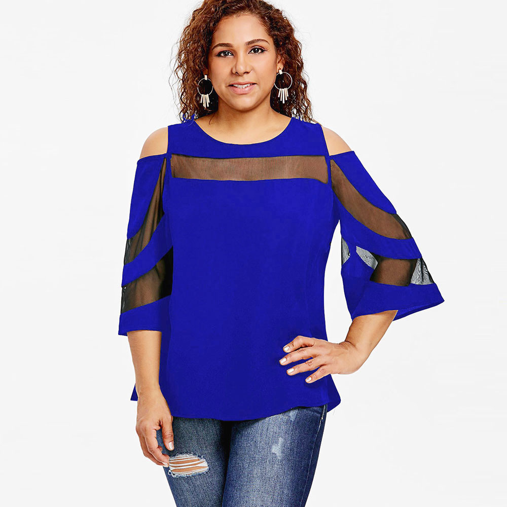 5b9c9be4ed5 Plus Size 5XL Sexy Mesh Sheer Top Women Clothes Summer 2018 Cold Shoulder  Flare Sleeve Blouse