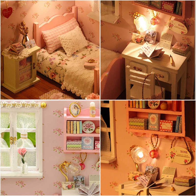 Cutebee Rumah DIY Miniatur dengan Furnitur LED Musik Debu Cover Model Blok Bangunan Mainan untuk Anak Ideas