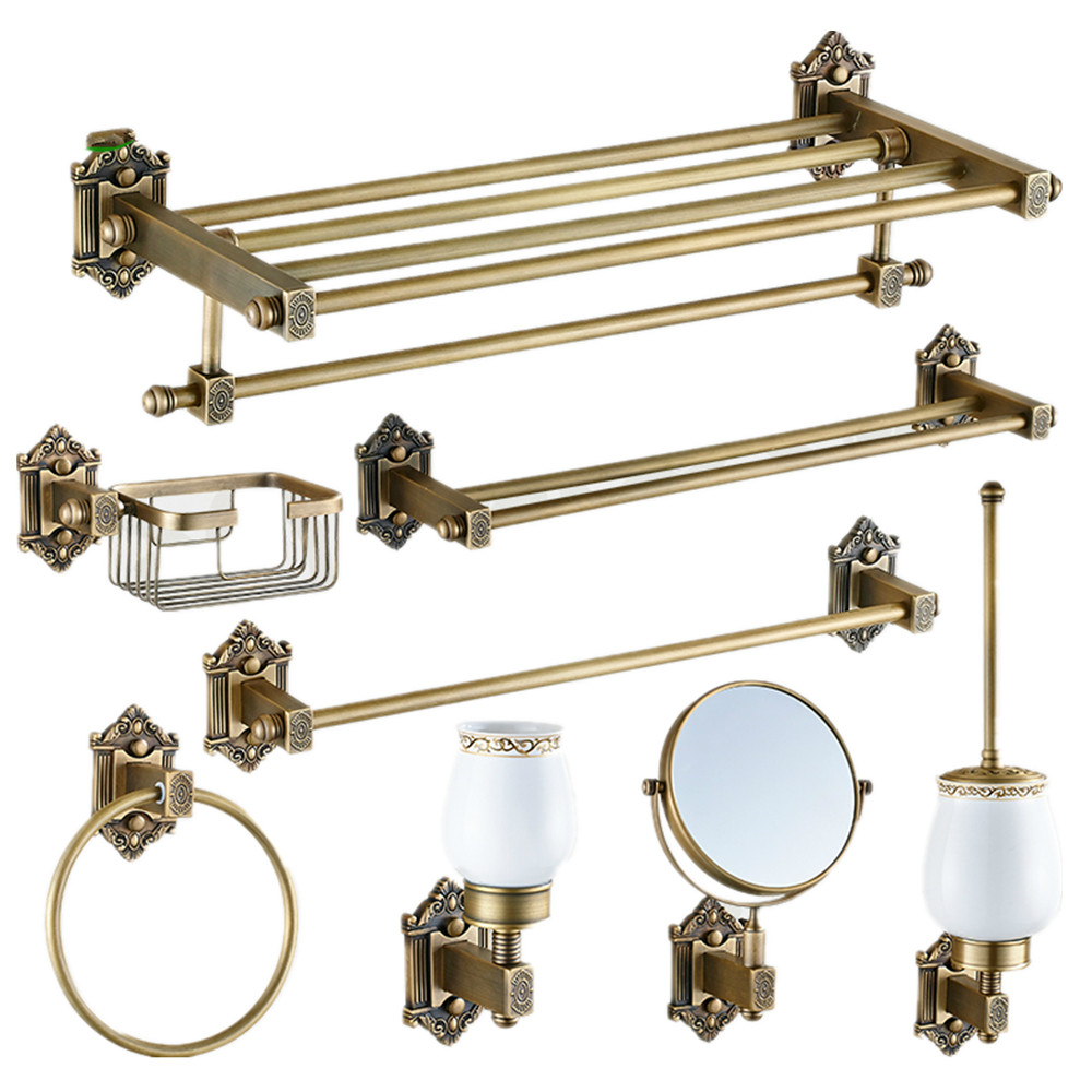 Luxury european fashion resin bathroom products accessories set high - New Design Vintage Copper Bronze Bathroom Accessories European Brushed Solid Brass Bathroom Hardware Set Bathroom Products