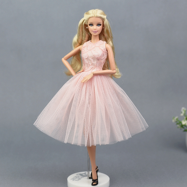 0433d6727f25e US $4.03 5% OFF|2018 Light Pink Lace Dress Skirt Evening Party Princess  Gown Fashion Outfit Clothes For 1/6 Barbie Xinyi Fr Doll for Girl Gift-in  ...