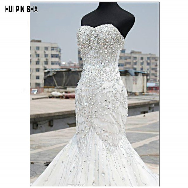 Luxury Bling Wedding Dresses Mermaid Sweetheart Tulle Sleeveless Beaded Lace Up Sweep Train Bridal