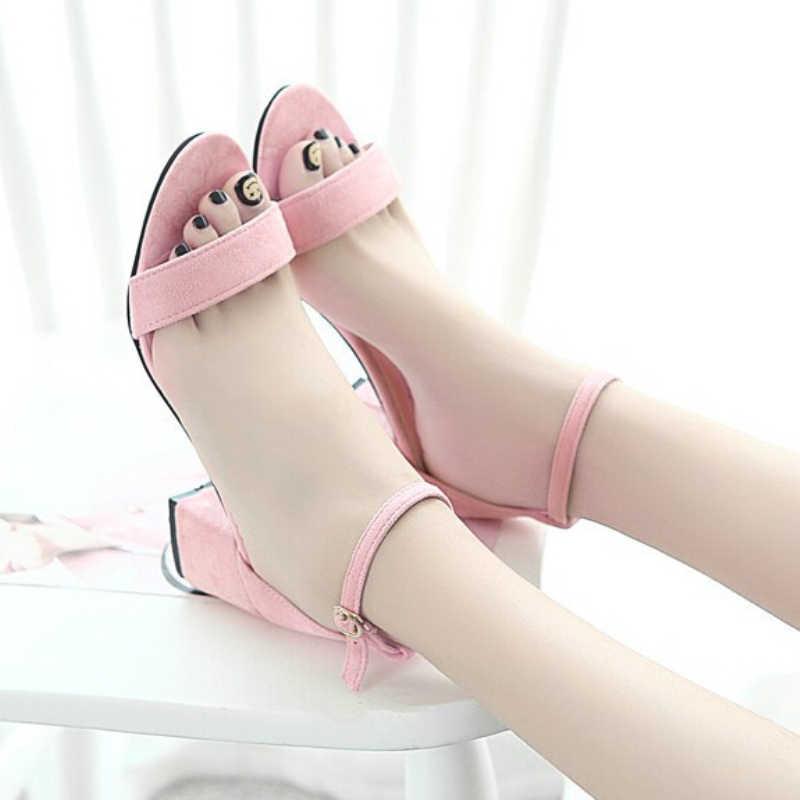2019 nouveau été femmes sandales mode pompes femmes chaussures plage sandales solide noir rose gris talons hauts gladiateur chaussures décontractées