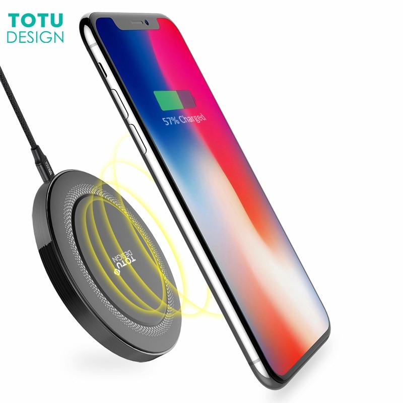 TOTU Qi Wireless Charger Pad For iPhone X 8 Plus Mini LED
