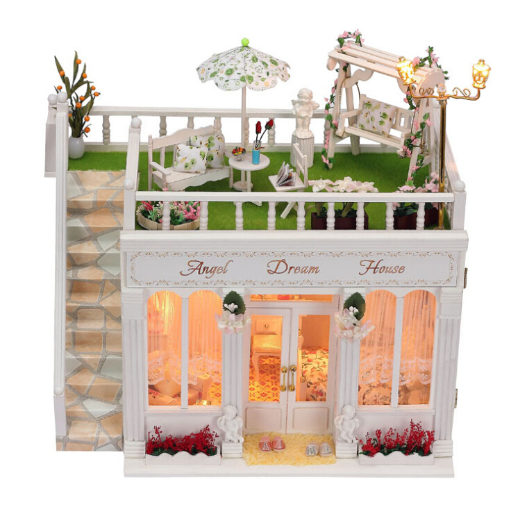 Diy Doll House Miniature Model Building Kits Handmade Wooden 3D Dollhouse 1:12 Toy Bristday Greative Gift-Angel Dream House new arrive diy doll house model building kits 3d handmade wooden miniature dollhouse toy christmas birthday greative gift