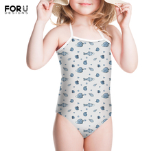 FORUDESIGNS Little Kids Cartoon Bikini Animal Prints Conjoined Pants Summer Beach Sweaty Girls Swimming Bathing Set