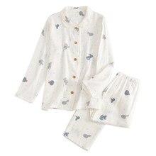bf2b1879402170 2019 nowe świeże białe 100% gaza bawełna piżamy ustawia kobiety lato z  długim rękawem przytulne oddychające pijamas na co dzień .
