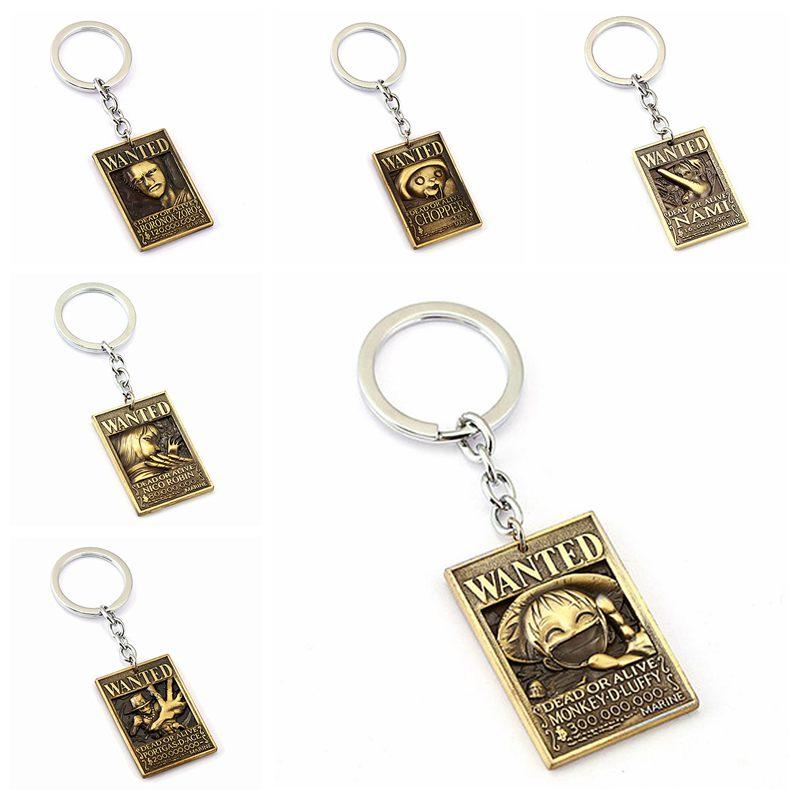 One Piece Wanted Luffy Chooper Zoro Sanji Ace Law Keychain Bag Ornament Keyring