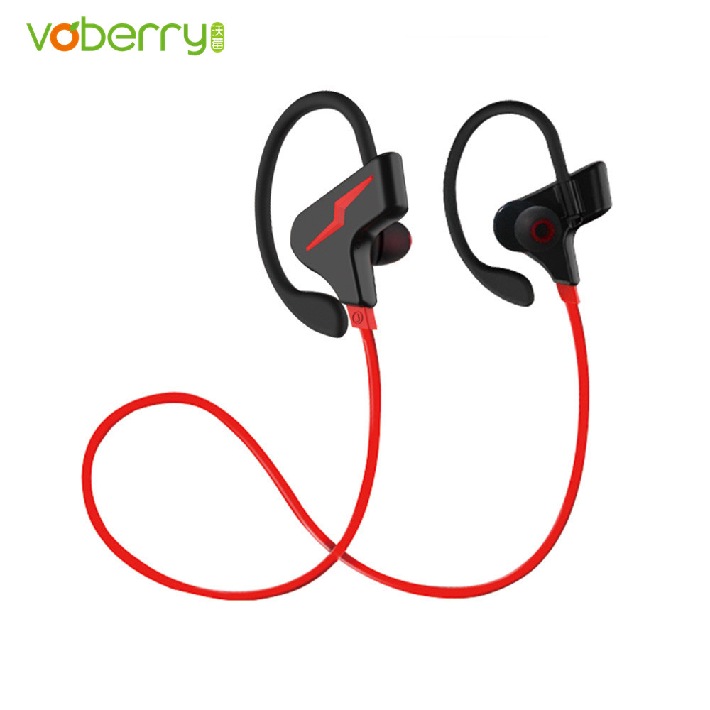 VOBERRY Sports Wireless Headphones Ear Hook Earphones Bluetooth Hifi Stereo Bass Earbuds Headsets with Microphone long sleeve tie neck twisted t shirt
