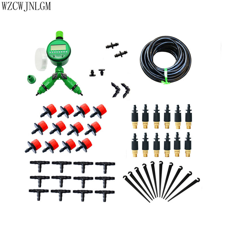 D'irrigation 25 m DIY Micro Drip Irrigation System Plantes Auto Automatique Minuterie D'arrosage Tuyau D'arrosage Kits Avec Réglable Drippe