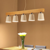 Nordic style Japanese Modern Simple Dining room Log Chandelier Creative Solid wood Chandelier Black White