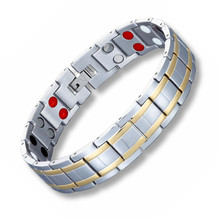 Men Stainless Steel Healthy Magnet Bracelet Double row Energy Magnetotherapy Father's day Gift все цены