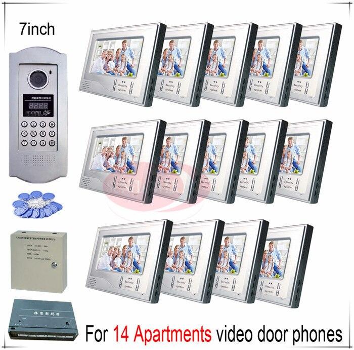 Pour 14 Appartements vidéo porte téléphones porte cloches systèmes interphone soutien Inductif Carte/Mot de Passe fonction de déverrouillage