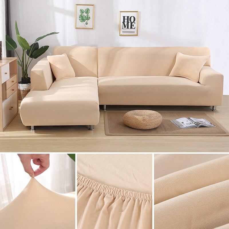 Housse de canapé extensible en forme de L pour salon Chaise Longue housse de canapé sectionnelle housse de canapé d'angle en forme de L élastique 2 pièces