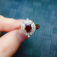 CoLife Jewelry 100% Natural Dark Red Ruby Ring for Party 4*6mm Africa Ruby Silver Ring 925 Silver Ruby Jewelry Gift for Woman