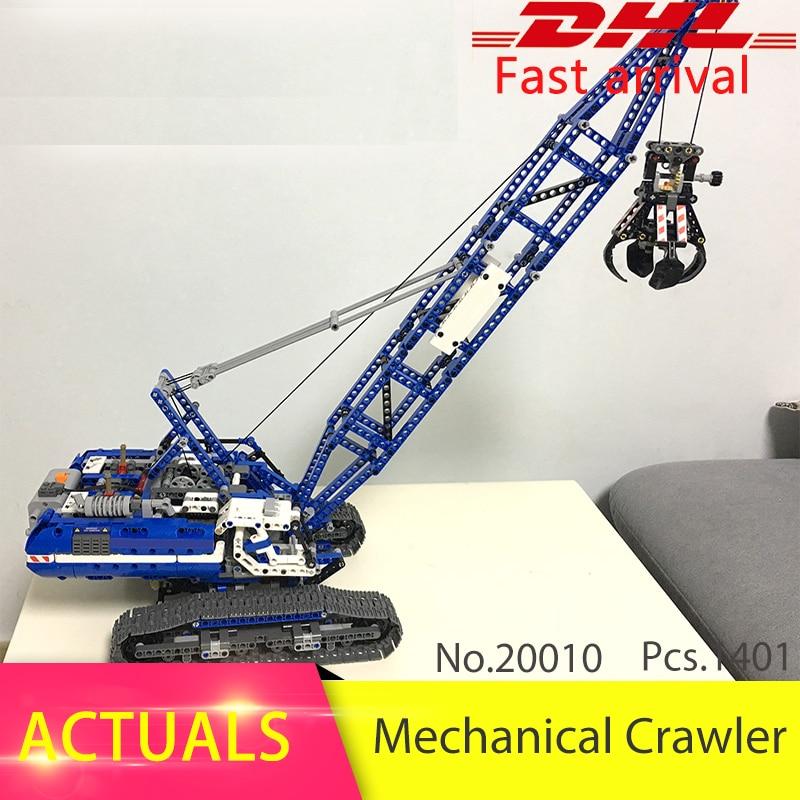 Lepin 20010 1401pcs Technic series Motor echanical Crawler Crane Building Blocks Bricks Toys For Children Compatible 42054 Gift ювелирное изделие 20010