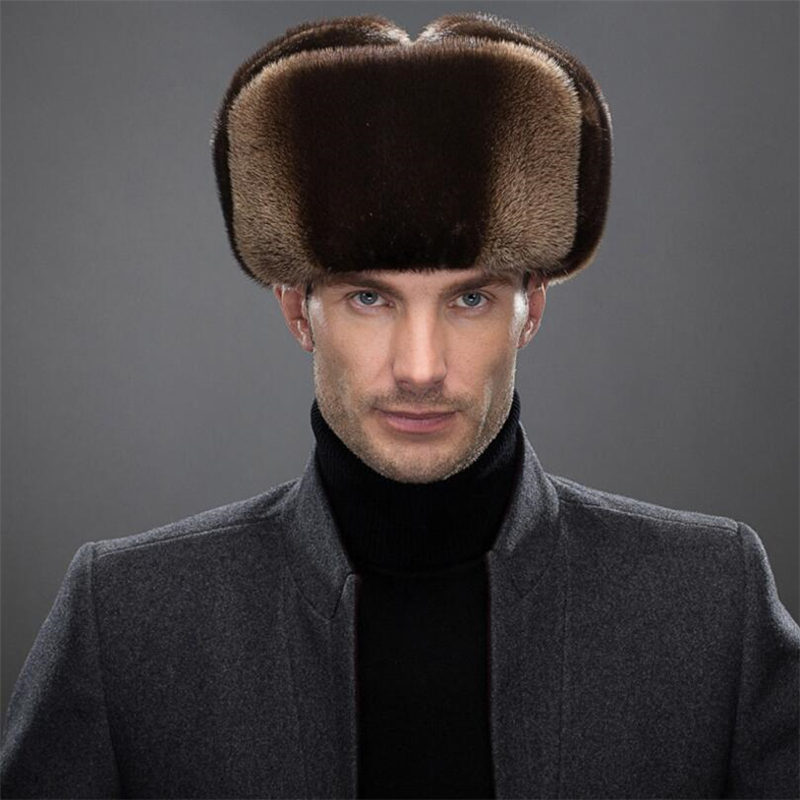 IANLAN Fashion Mens Import Full-pelt Otter Fur Bomber Hats Solid Russian Style Winter Windproof Lutra Fur Earmuffs Hats IL00246