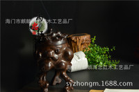 Yu Zhong African ebony black sticks of wood carving censer incense coil incense smoke incense box hollow sculpture with red wood