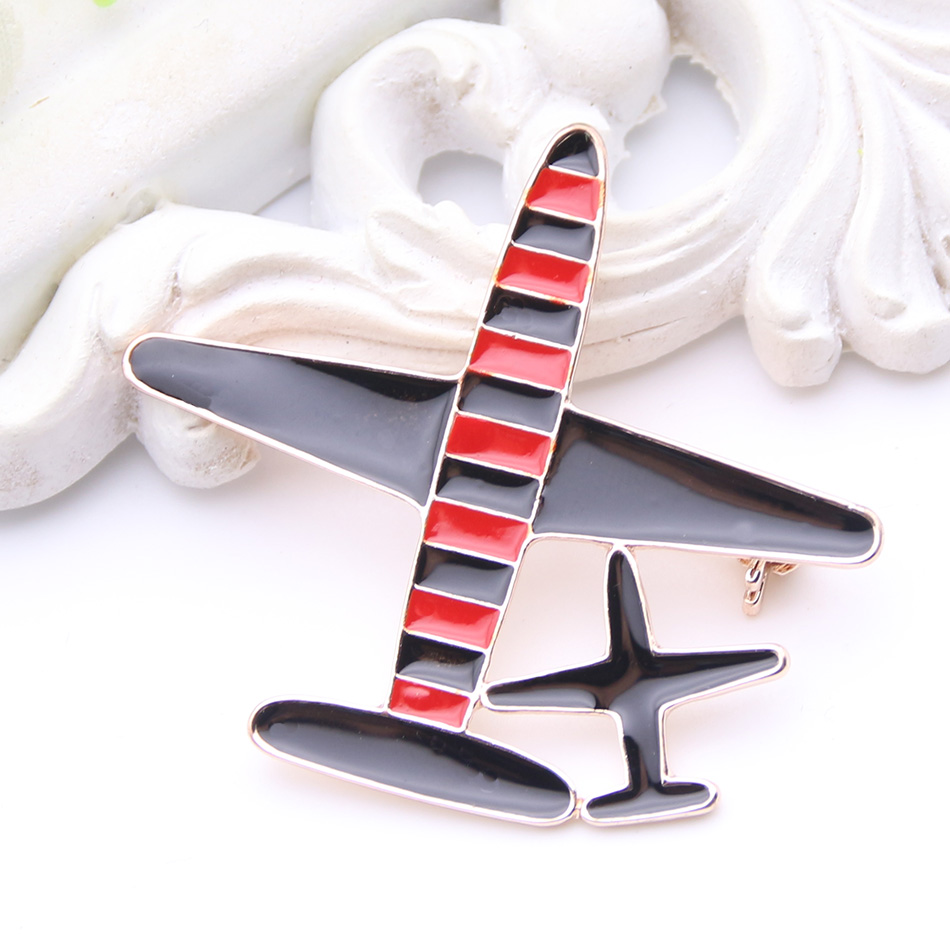 Brand Design Stewardess Pilot Airplane Brooch Enamel 2 Plane Jewelry Pins Sky Badge Ladies Lapel Pin Party Banquet Brooches Gift image